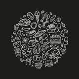 Sistema a mano del garabato con la comida Pescados, carne, hamburguesas, pavo, verduras, tallarines, mariscos, helado y torta bla ilustración del vector