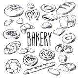 Sistema a mano del vector de los panes y de los pasteles Fotos de archivo