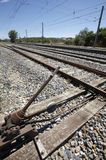 Sistema manual de mudança dos trilhos na estação de comboio velha imagem de stock