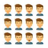 Sistema masculino de la expresión del avatar imagen de archivo libre de regalías