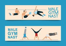 Sistema masculino del gimnasta del ejemplo del vector de las banderas Gimn?stico competitivo Barra horizontal Barrases paralelas  ilustración del vector