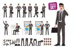 Sistema masculino del vector de los caracteres del negocio Creación del personaje de dibujos animados del hombre de negocios que  stock de ilustración