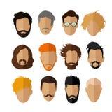Sistema masculino del vector de los iconos del avatar Caracteres de la gente en estilo plano Imágenes de archivo libres de regalías