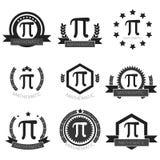 Sistema matemático del logotipo del pi Iconos matemáticos del pi fijados ilustración del vector