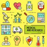 Sistema médico y de la investigación del icono Fotografía de archivo libre de regalías