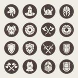 Sistema medieval del icono de la armadura Ilustración del vector Fotos de archivo libres de regalías