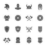 Sistema medieval del icono de la armadura Ilustración del vector Fotos de archivo