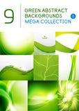Sistema mega de fondos abstractos verdes Imagenes de archivo