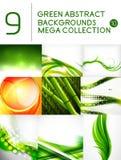 Sistema mega de fondos abstractos verdes Imagen de archivo libre de regalías