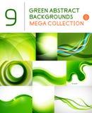 Sistema mega de fondos abstractos verdes Foto de archivo