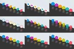 Sistema mega de las banderas de la cronología de Infographics, cartas libre illustration