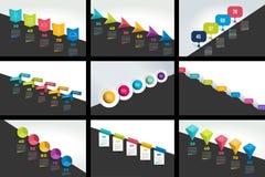 Sistema mega de las banderas de la cronología de Infographics, cartas Plantillas graduales del informe stock de ilustración