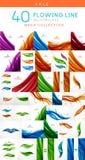 Sistema mega de las líneas onduladas abstractas fondos Foto de archivo libre de regalías