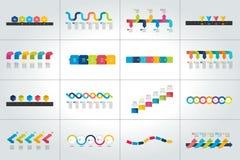 Sistema mega de las plantillas infographic de la cronología, diagramas, presentaciones ilustración del vector