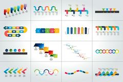 Sistema mega de las plantillas infographic de la cronología, diagramas, presentaciones stock de ilustración