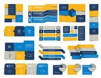 Sistema mega de los elementos del infographics, horario, etiquetas, banderas, cartas stock de ilustración
