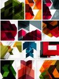 Sistema mega de los fondos geométricos de papel Foto de archivo libre de regalías