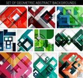 Sistema mega de los fondos geométricos de papel Imagen de archivo
