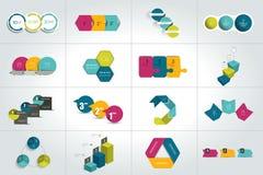 Sistema mega de 3 plantillas infographic de los pasos, diagramas, gráfico, presentaciones, carta stock de ilustración