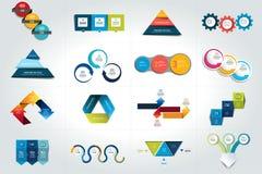 Sistema mega de 3 plantillas infographic de los pasos, diagramas, gráfico, presentaciones, carta ilustración del vector