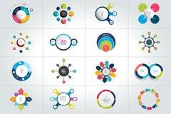 Sistema mega del círculo, plantillas infographic redondas, diagramas, gráfico, presentaciones, carta libre illustration