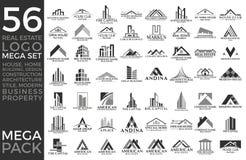 Sistema mega y grupo, Real Estate, edificio y construcción grandes Logo Vector Design stock de ilustración