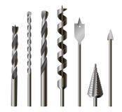 Sistema metálico de las brocas, del equipo y de herramienta stock de ilustración