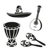 Sistema mexicano blanco y negro de la música stock de ilustración