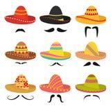 Sistema mexicano del icono de las muestras del sombrero del sombrero de la historieta Vector stock de ilustración