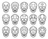 Sistema mexicano del icono del cráneo del azúcar stock de ilustración