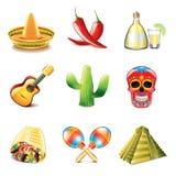Sistema mexicano del vector de los iconos de la cultura Fotografía de archivo libre de regalías