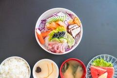 Sistema mezclado del sashimi fotografía de archivo libre de regalías