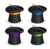 Sistema mágico del vector de los sombreros Imágenes de archivo libres de regalías