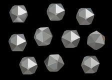 Sistema mineral macro de 10 unidades, cuarzo de la colección de la gema de Crystal Stone en fondo negro ilustración 3D Fotografía de archivo libre de regalías