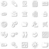 Sistema minimalista blanco del icono Fotografía de archivo