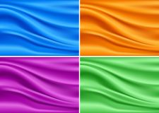 Sistema moderno colorido de la seda de la bandera Vector abstracto ilustración del vector