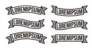 Sistema moderno de la cinta del vintage, elementos retros del diseño del logotipo Ennegrezca las banderas drawed tiza estilizada  stock de ilustración