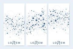 Sistema moderno de los aviadores del vector, banderas Presentación abstracta geométrica Molécula y fondo de la comunicación para Imagen de archivo