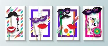 Sistema moderno del folleto del festival del carnaval stock de ilustración
