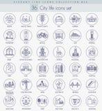 Sistema moderno del icono del esquema de la ciudad del vector Línea fina elegante diseño del estilo stock de ilustración