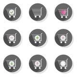 Sistema moderno plano del icono de la carretilla de las compras Fotos de archivo libres de regalías