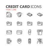 Sistema moderno simple de iconos de la tarjeta de crédito Imagen de archivo
