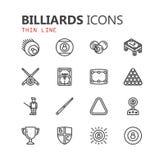 Sistema moderno simple de iconos de los billares Colección superior Ilustración del vector Fotografía de archivo