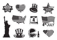 Sistema monocromático del icono del Día de la Independencia de los E.E.U.U. libre illustration