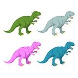 Sistema multicolor del dinosaurio Tiranosaurio rosado Rex stock de ilustración