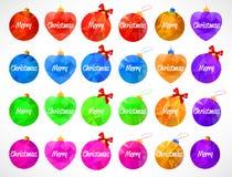 Sistema multicolor grande de la Feliz Año Nuevo y de la Feliz Navidad de los juguetes o de la bola de los triángulos Fotos de archivo libres de regalías
