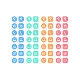 Sistema multiusos de los iconos del web para el negocio, las finanzas y la comunicación Foto de archivo