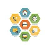 Sistema multiusos de los iconos del web para el negocio, las finanzas y la comunicación Imagen de archivo