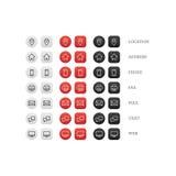 Sistema multiusos del icono de la tarjeta de visita de los iconos del web para el negocio, las finanzas y la comunicación Foto de archivo libre de regalías