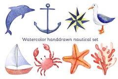 Sistema náutico dibujado mano del mar de la acuarela Imágenes de archivo libres de regalías
